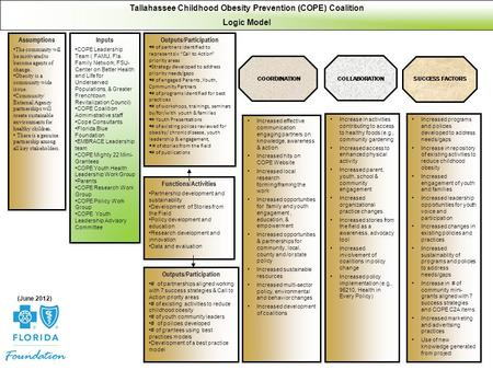 Tallahassee Childhood Obesity Prevention (COPE) Coalition Logic Model Assumptions The community will be motivated to become agents of change. Obesity is.