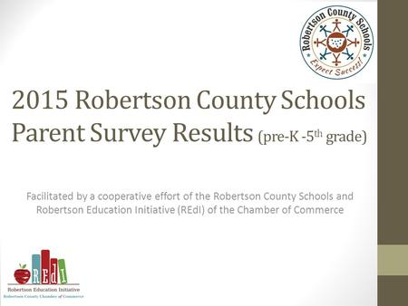 2015 Robertson County Schools Parent Survey Results (pre-K -5 th grade) Facilitated by a cooperative effort of the Robertson County Schools and Robertson.