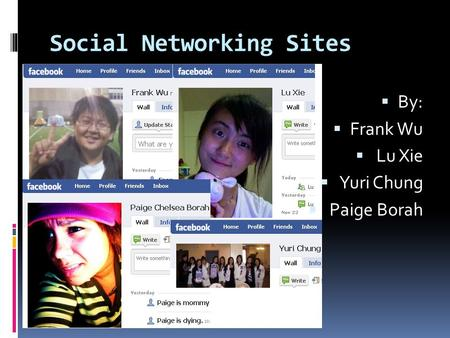 Social Networking Sites  By:  Frank Wu  Lu Xie  Yuri Chung  Paige Borah.