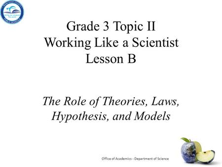 Grade 3 Topic II Working Like a Scientist Lesson B The Role of Theories, Laws, Hypothesis, and Models Office of Academics - Department of Science.