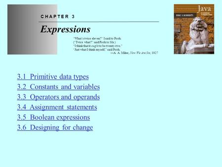 Expressions Java 3.1 Primitive data types 3.2 Constants and variables