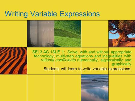 Writing Variable Expressions SEI.3.AC.1SLE 1: Solve, with and without appropriate technology, multi-step equations and inequalities with rational coefficients.