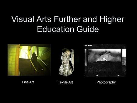 Visual Arts Further and Higher Education Guide Fine Art Textile ArtPhotography.
