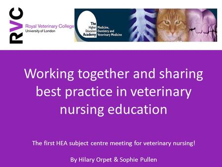 Working together and sharing best practice in veterinary nursing education The first HEA subject centre meeting for veterinary nursing! By Hilary Orpet.