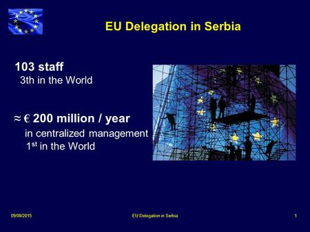 09/08/2015EU Delegation in Serbia1 103 staff 3th in the World ≈ € 200 million / year in centralized management 1 st in the World.