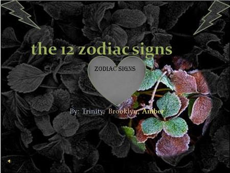 By: Trinity, Brooklyn, Amber Zodiac signs Can you wait to see what zodiac character you are!?!?! Well here you go!!!!! Z ZODIAC!!!