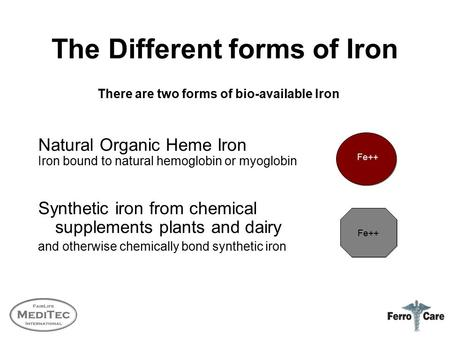 The Different forms of Iron Natural Organic Heme Iron Iron bound to natural hemoglobin or myoglobin Synthetic iron from chemical supplements plants and.