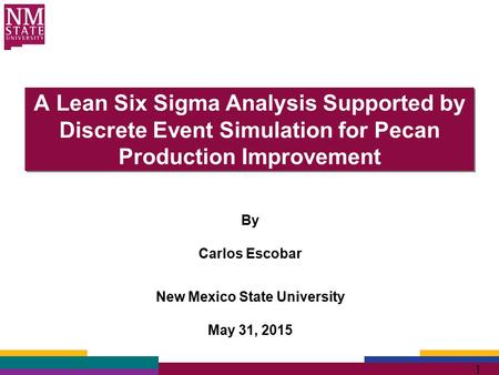1 A Lean Six Sigma Analysis Supported by Discrete Event Simulation for Pecan Production Improvement By Carlos Escobar New Mexico State University May 31,