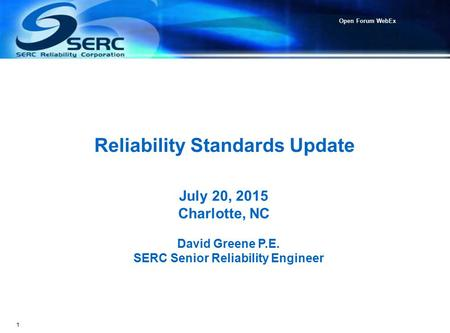 Reliability Standards Update
