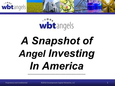 A Snapshot of Angel Investing In America -------------------------------------------------------------------- 1.