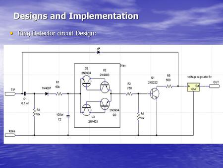 Designs and Implementation Ring Detector circuit Design: Ring Detector circuit Design: