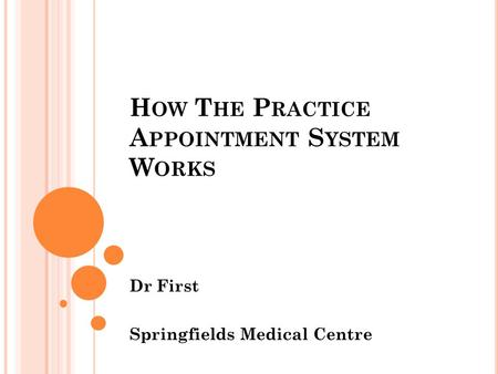 H OW T HE P RACTICE A PPOINTMENT S YSTEM W ORKS Dr First Springfields Medical Centre.