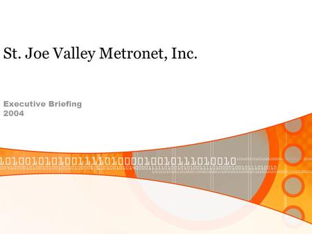 St. Joe Valley Metronet, Inc. Executive Briefing 2004.