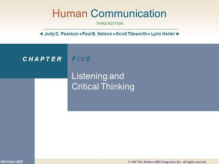 Chapter 5 Objectives Describe the listening process