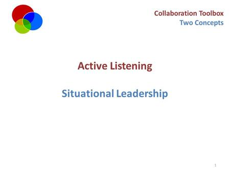 1 Collaboration Toolbox Two Concepts Active Listening Situational Leadership.