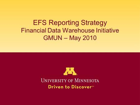EFS Reporting Strategy Financial Data Warehouse Initiative GMUN – May 2010.