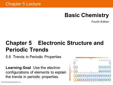 Chapter 5 Electronic Structure and Periodic Trends