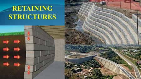 RETAINING STRUCTURES. Theories of lateral earth pressure will be used in this chapter to design various types of retaining walls. In general,