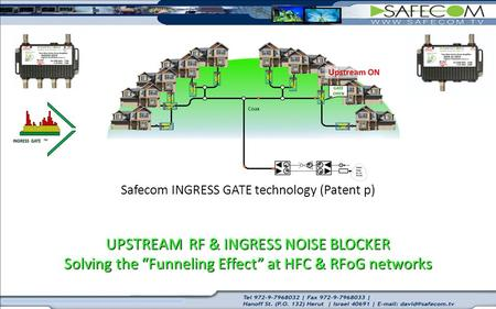 "UPSTREAM RF & INGRESS NOISE BLOCKER Solving the ""Funneling Effect"" at HFC & RFoG networks Safecom INGRESS GATE technology (Patent p) UPSTREAM RF & INGRESS."