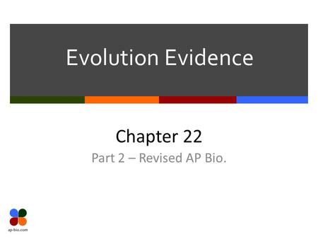 Evolution Evidence Chapter 22 Part 2 – Revised AP Bio.
