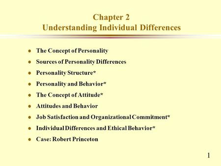 Chapter 2 Understanding Individual Differences