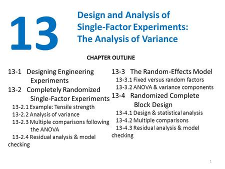 1 13 Design and Analysis of Single-Factor Experiments: The Analysis of Variance 13-1 Designing Engineering Experiments 13-2 Completely Randomized Single-Factor.