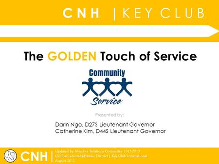 C N H | K E Y C L U B | Updated by: Member Relations Committee 2012-2013 California-Nevada-Hawaii District | Key Club International August 2012 Presented.