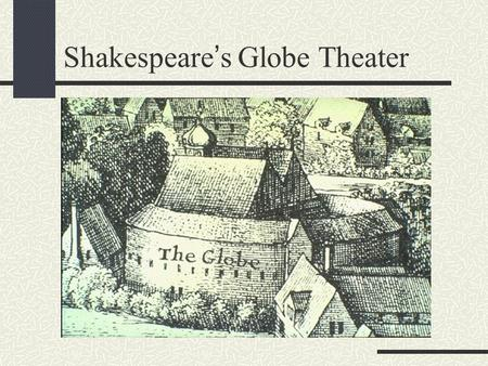 Shakespeare's Globe Theater Why was the Globe built? The Lord Chamberlain's Men (Shakespeare's acting group) needed a place to perform their plays, so.