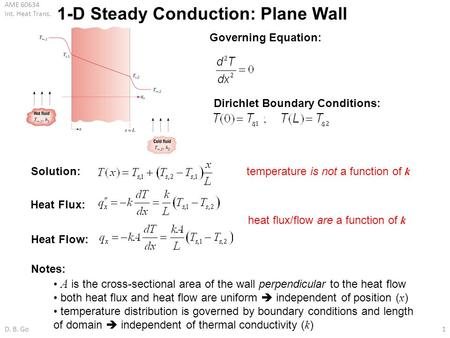 1-D Steady Conduction: Plane Wall