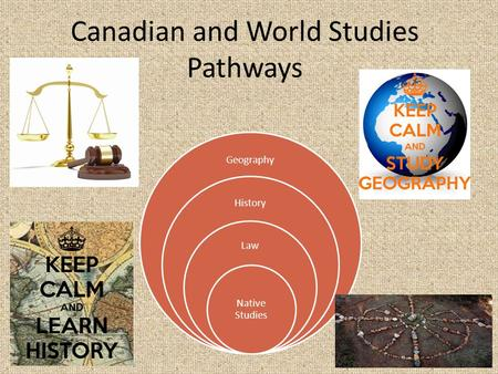 Canadian and World Studies Pathways Geography History Law Native Studies.