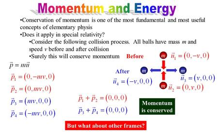 Conservation of momentum is one of the most fundamental and most useful concepts of elementary physis Does it apply in special relativity? Consider the.