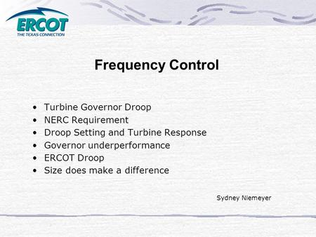 Frequency Control Turbine Governor Droop NERC Requirement