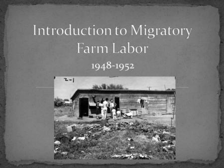 1948-1952. Migrant farm laborers are people who travel to a location where there is a job available. After the work is finished (usually a planting/harvest.