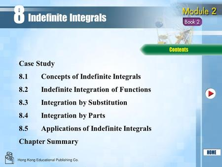 8.1Concepts of Indefinite Integrals 8.2Indefinite Integration of Functions 8.3Integration by Substitution Chapter Summary Case Study Indefinite Integrals.