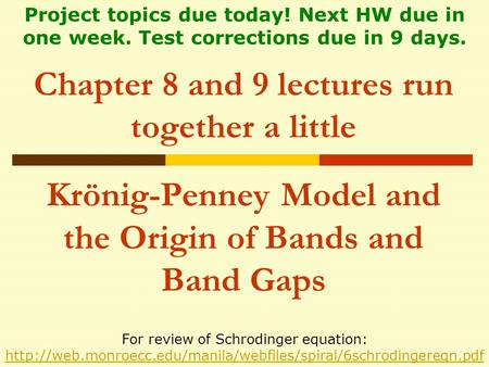Chapter 8 and 9 lectures run together a little Krönig-Penney Model and the Origin of Bands and Band Gaps For review of Schrodinger equation: