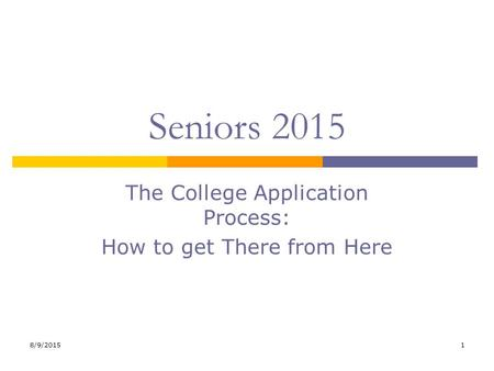 8/9/20151 Seniors 2015 The College Application Process: How to get There from Here.