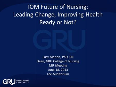 the impact of the iom Nursing education the 2010 iom report focused on improving the education system to accommodate the healthcare system dealing with an older and more diverse.