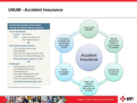 UNUM - Accident Insurance Accident Insurance Lump Sum Benefit Benefit amount is based on type of injury or incident Money can be used for anything Helps.