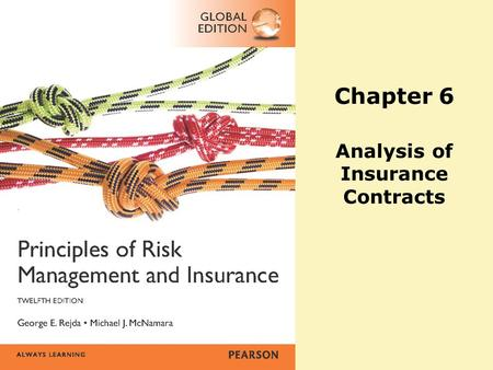 Chapter 6 Analysis of Insurance Contracts. Copyright ©2014 Pearson Education, Inc. All rights reserved.10-2 Agenda Basic parts of an insurance contract.
