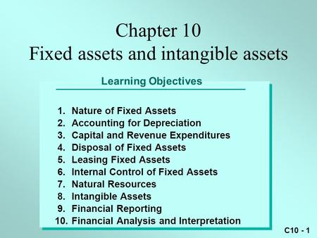 Chapter 10 Fixed assets and intangible assets