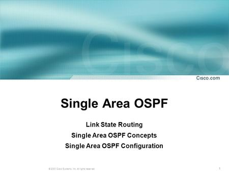 Single Area OSPF Concepts Single Area OSPF Configuration
