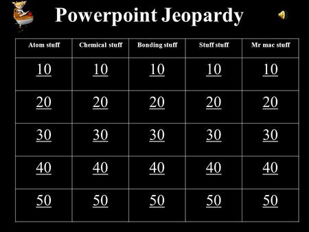 1 Powerpoint Jeopardy Atom stuffChemical stuffBonding stuffStuff stuffMr mac stuff 10 20 30 40 50.