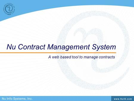 Nu Contract Management System A web based tool to manage contracts.