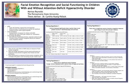 Facial Emotion Recognition and Social Functioning in Children With and Without Attention-Deficit Hyperactivity Disorder Marissa Reynolds The Pennsylvania.