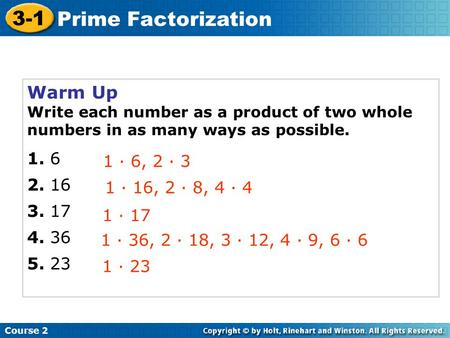 3-1 Prime Factorization Warm Up · 6, 2 · 3