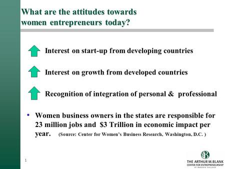 1 What are the attitudes towards women entrepreneurs today? Interest on start-up from developing countries Interest on growth from developed countries.