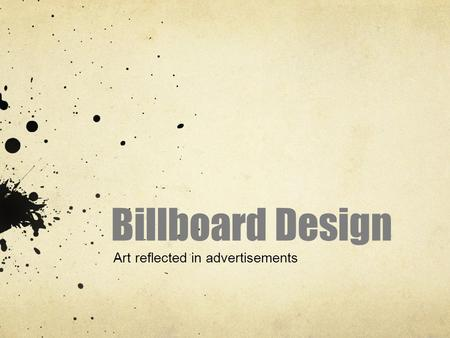 Billboard Design Art reflected in advertisements.