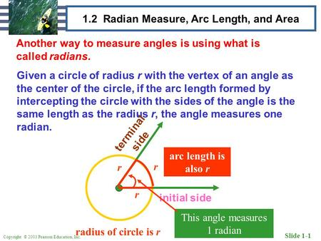 Copyright © 2003 Pearson Education, Inc. Slide 1-1 1.2 Radian Measure, Arc Length, and Area Another way to measure angles is using what is called radians.