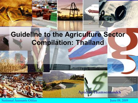 National Accounts Office June 08, 2009 Guideline to the Agriculture Sector Compilation: Thailand Apichai Thamsermsukh.