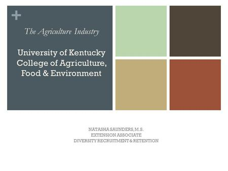 + The Agriculture Industry University of Kentucky College of Agriculture, Food & Environment NATASHA SAUNDERS, M.S. EXTENSION ASSOCIATE DIVERSITY RECRUITMENT.